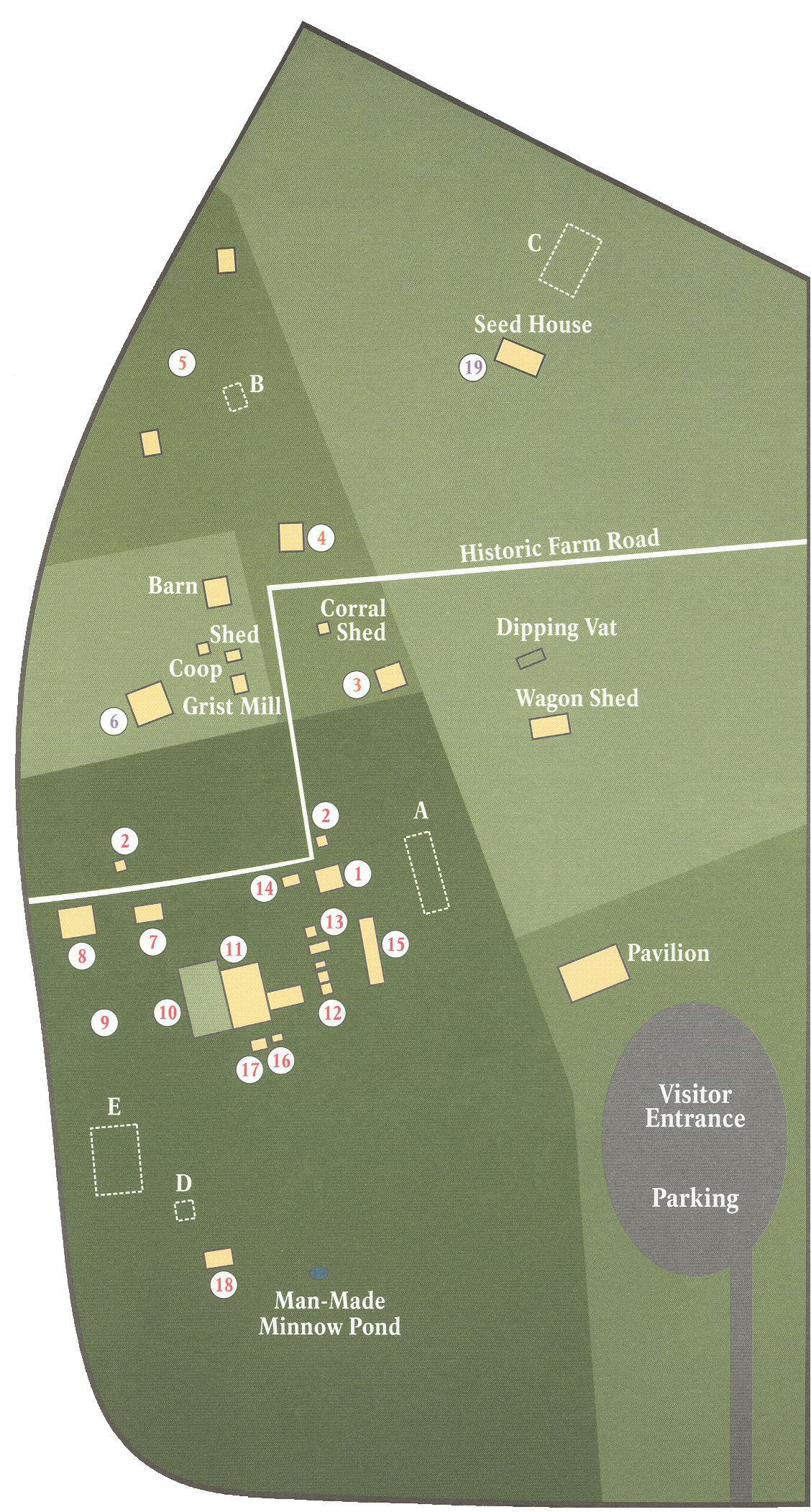 A map of Cane River Creole Historical Park Louisiana