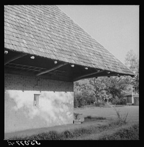 HABS image of west wall of African House taken in 1940 during documentation of Melrose Plantation. LOC|HABS