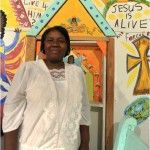 Juanita Leonard in her self built church.