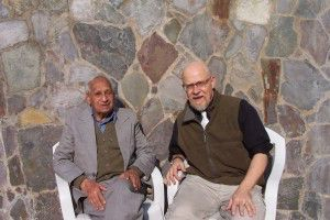 Nek Chand and Tony Rajer at the Rock Garden office.