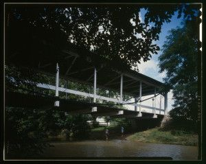 David Morrison, founder of Dayton's Columbia Bridge Works, built the Germantown Covered Bridge, a combination wood and iron suspension truss in 1865. HAER photo by Joseph Elliott.