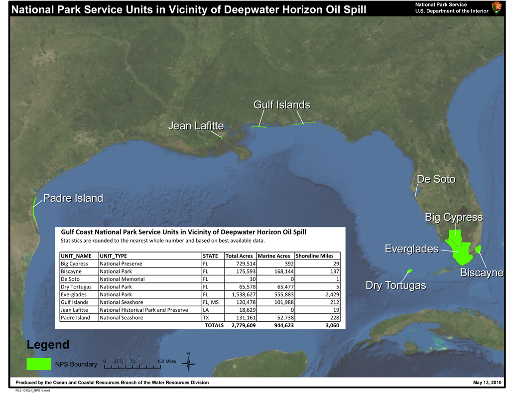 National Park Service Units in Vicinity of Deepwater Horizon Oil Spill