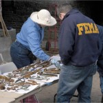 Mary Striegel evaluates damage to metal artifacts with FEMA workers.
