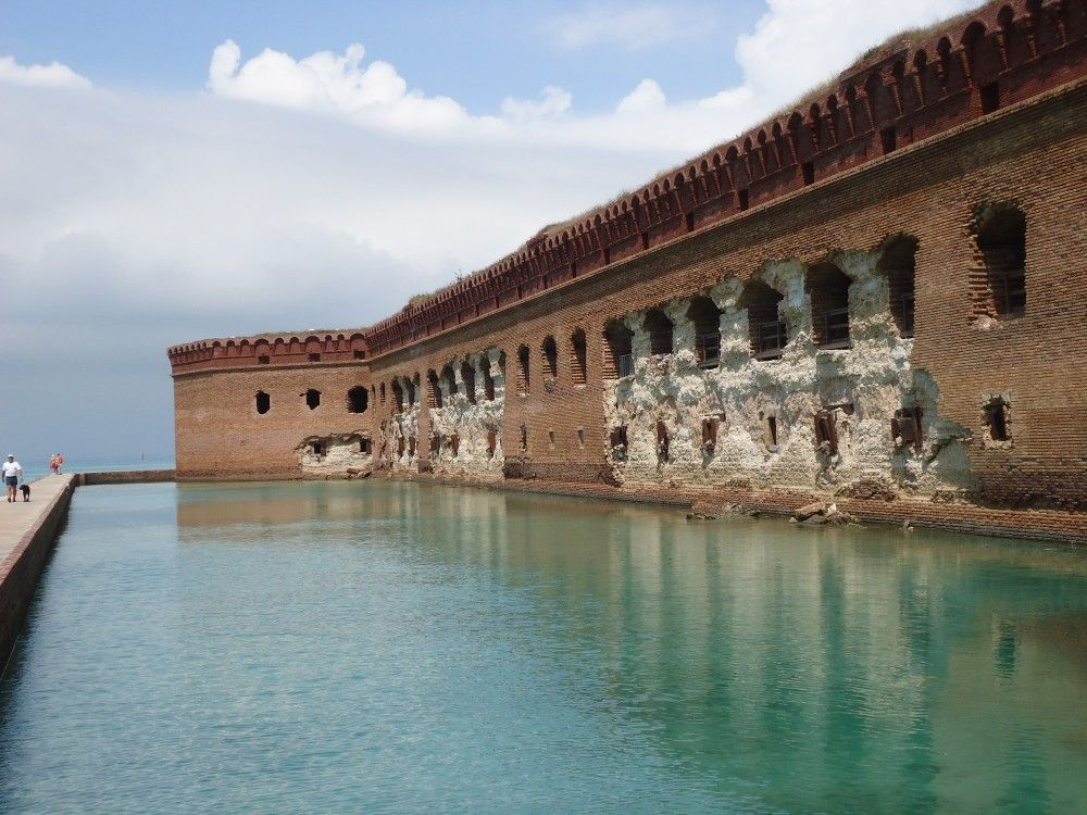 Deteriorating wall at Fort Jefferson, Dry Tortugas National Park, which raises questions of how to balance repair costs with projected sea level rise and fewer but more intense hurricanes and tropical storms.
