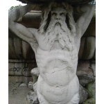 This detail of a merman exemplifies vein erosion of the limestone throughout the fountain.