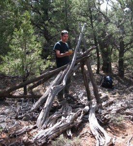 Taking GPS measurements of a brush structure.