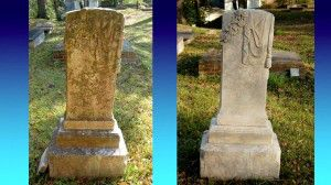 Stone grave marker before (left) and after (right) cleaning.