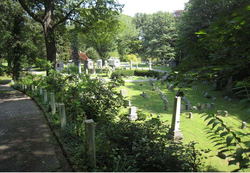 Figure 4. Today, Mount Hope Cemetery retains a high degree of integrity while the varying relationships between steep slopes, vegetative cover, and monument layout require distinct treatment approaches. Courtesy Heritage Landscapes.