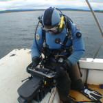 A Diver uses multibeam sonar to identify submerged artifacts as part of a 2009 grant to the Lake Champlain Maritime Museum.