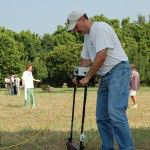 Participant collects resistivity data