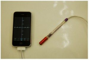 iPhone graphing tool with eddy current probe. NCPTT has scheduled an eddy current iPhone application for 2010. Photo courtesy of Jason Church.
