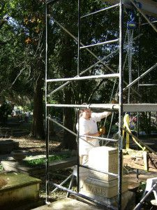Chain Hoist is used on a marble obelisk