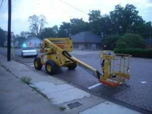 Cherry picker with mounted equipment