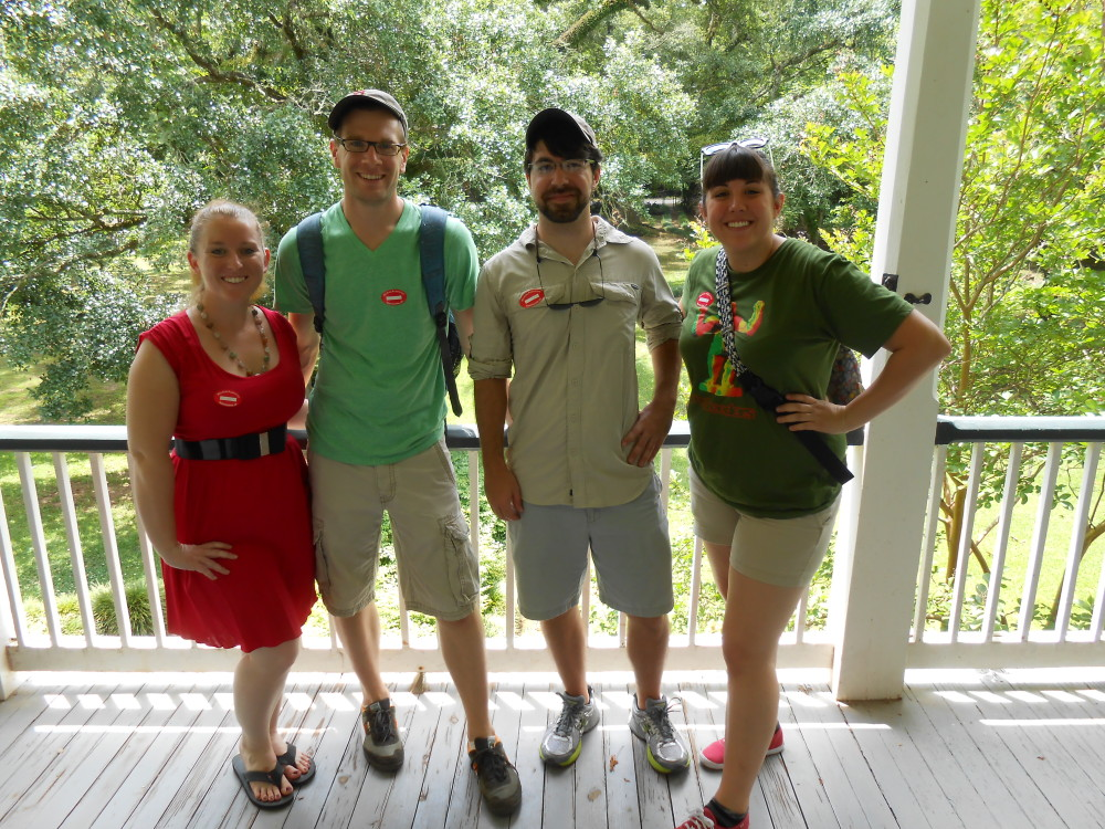 A group shot on the deck. From left to right: Stephanie, Paul, Ben, and Sarah Photo By: Our tourguide Tyler!