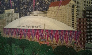 "A Superdome detail from ""Paragons of New Orleans"" by Stephan Wanger Photo By: Stephanie Byrd"