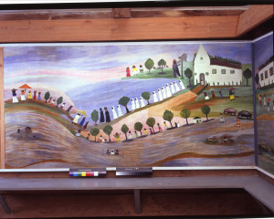 This Baptism mural by Clementine Hunter depicts the various stages of a baptism in the Cane River.  Source: http://www.jerseyarts.com/blog/index.php/nj-opera/2013/01/montclairs-peak-performances-is-fertile-ground-for-robert-wilsons-zinnias/