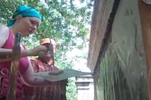 Student learns plastering from Tevis Vandergriff, a second generation master plasterer.