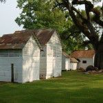 Wood outbuildings at Oakland Plantation after limewashing. Photograph by Sarah Jackson